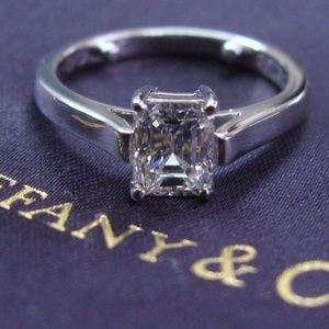 Tiffany & Co Platinum Emerald Cut Diamond Engageme